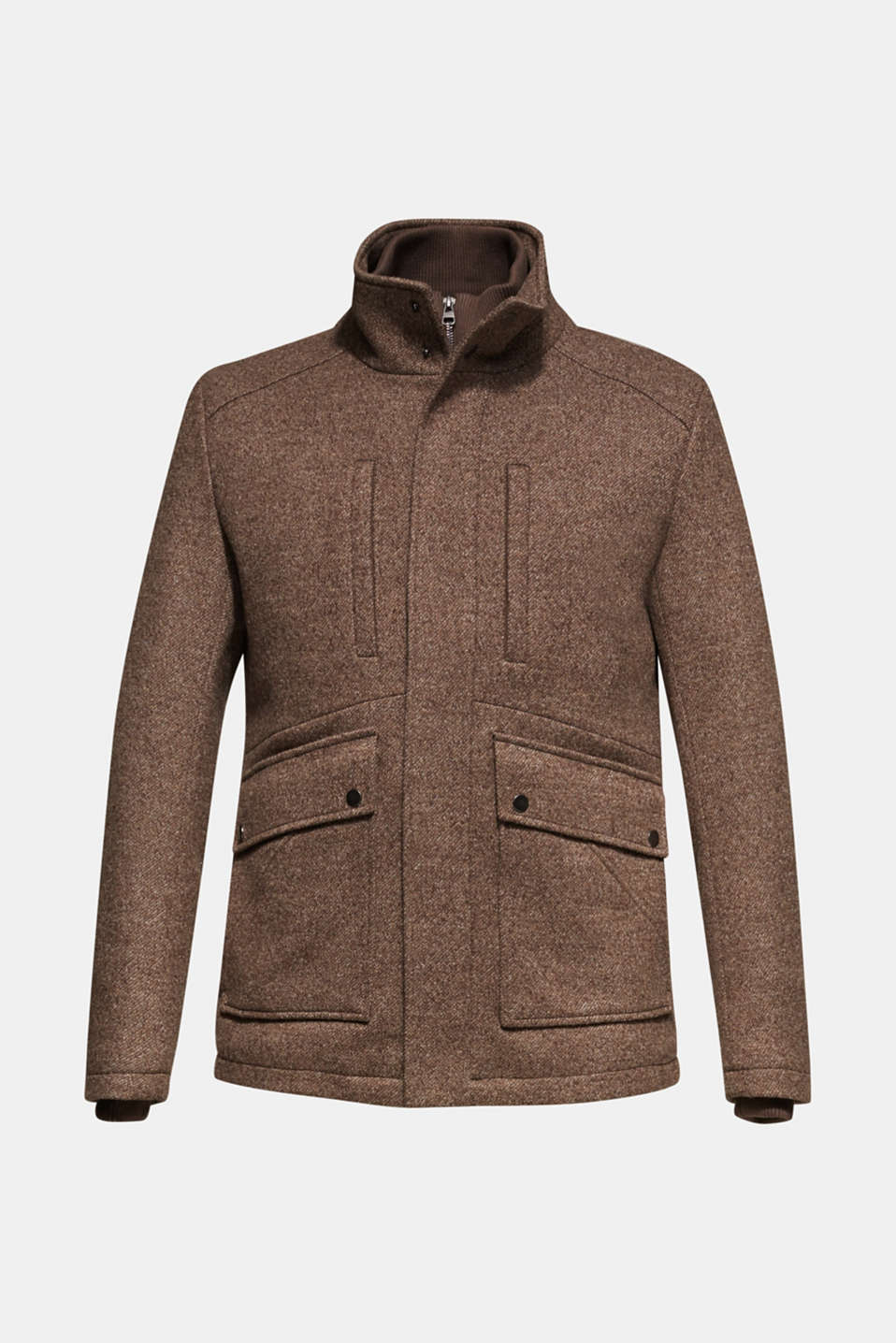 Wool blend: coat with a quilted insert, CAMEL, detail image number 7