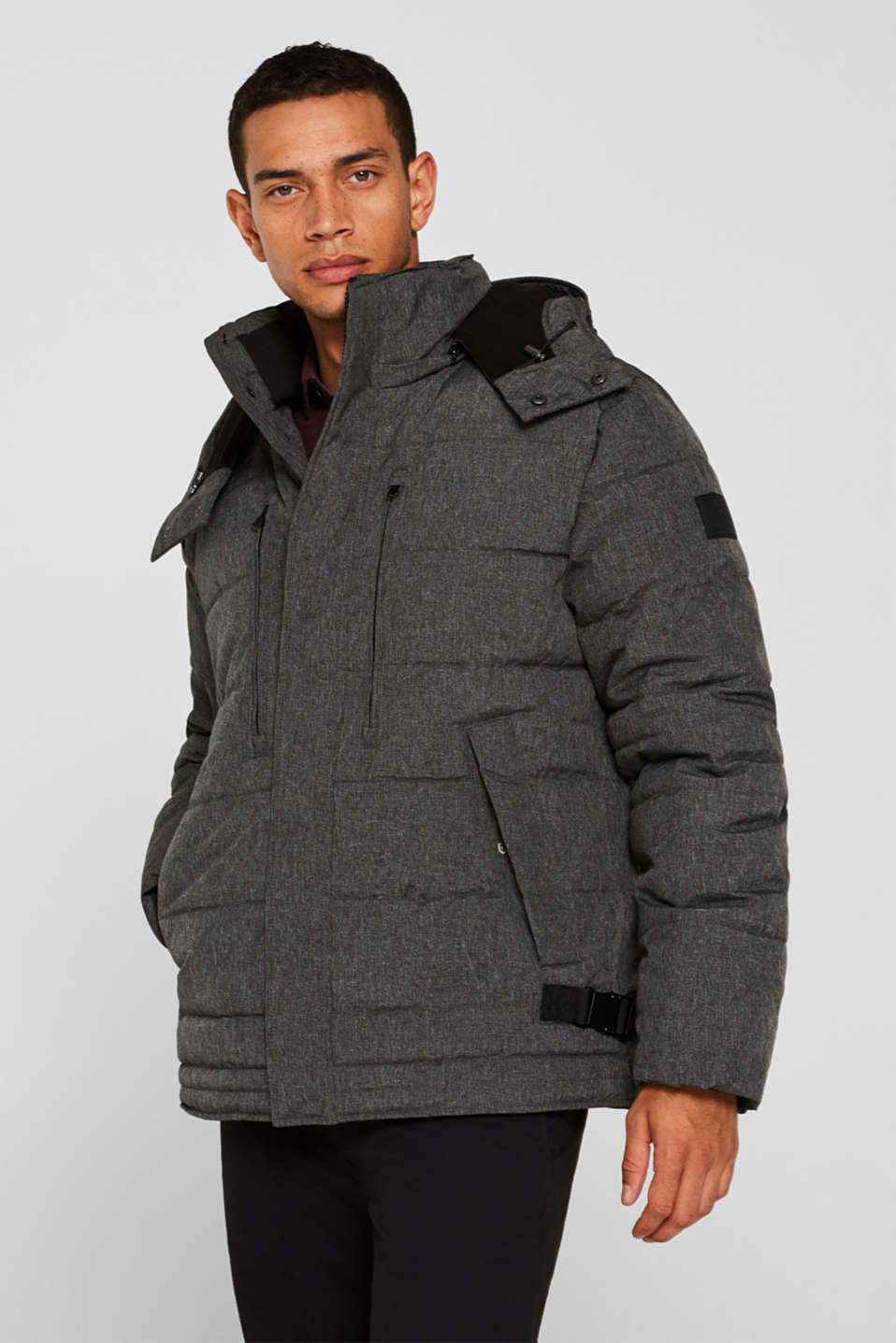 Winter jacket with an adjustable hood, GREY, detail image number 1