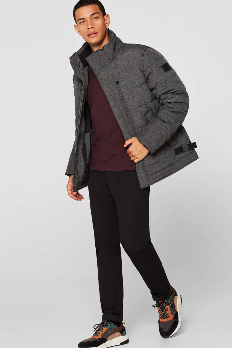Winter jacket with an adjustable hood, GREY, detail image number 0