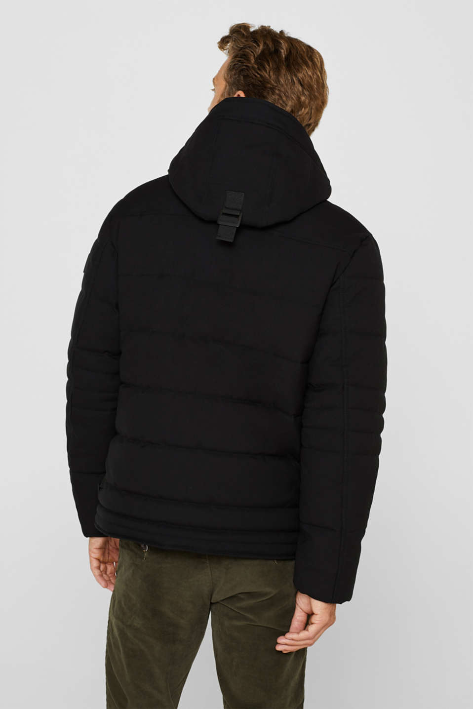 Padded quilted jacket with an adjustable hood, BLACK, detail image number 3