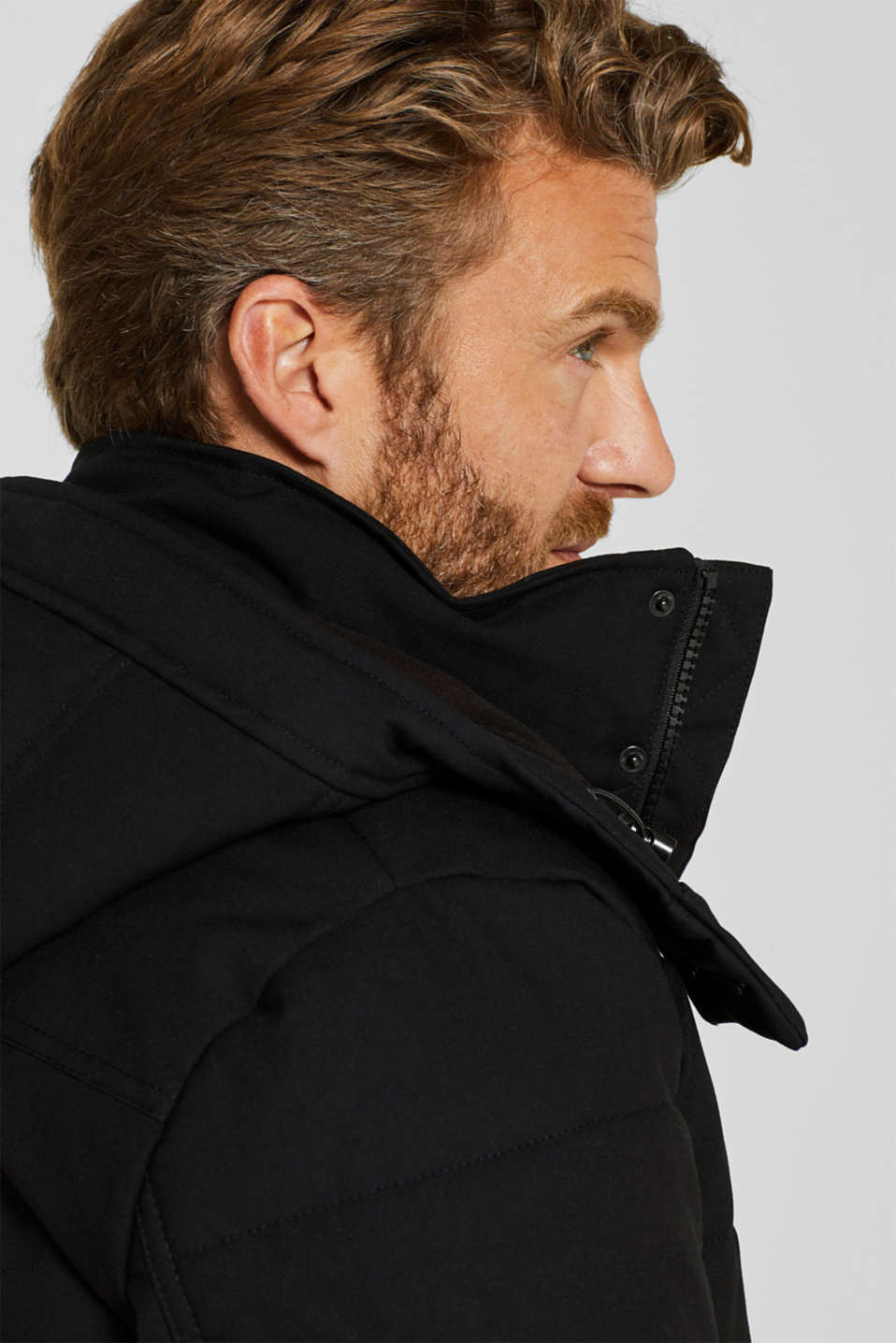 Padded quilted jacket with an adjustable hood, BLACK, detail image number 5