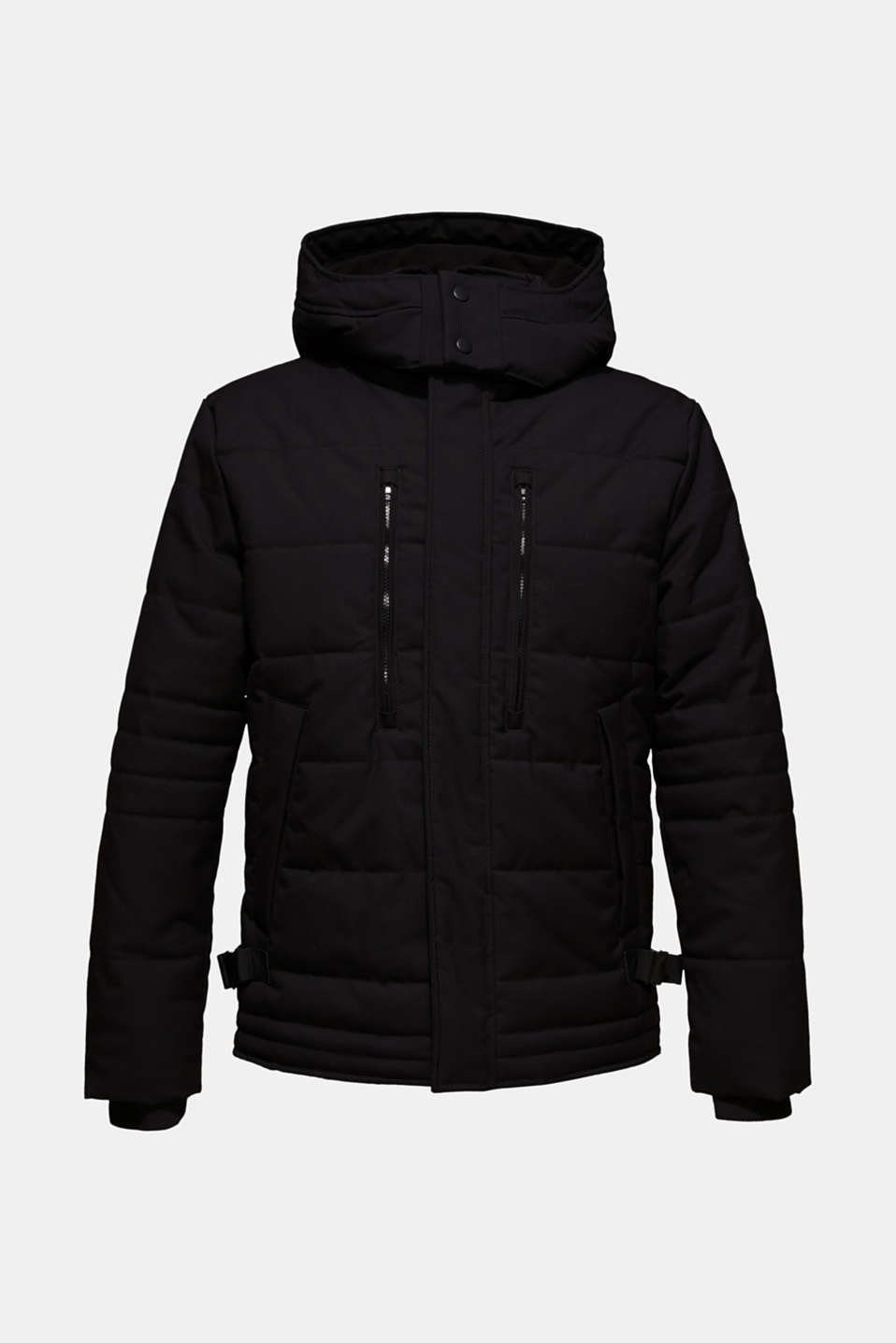 Padded quilted jacket with an adjustable hood, BLACK, detail image number 7