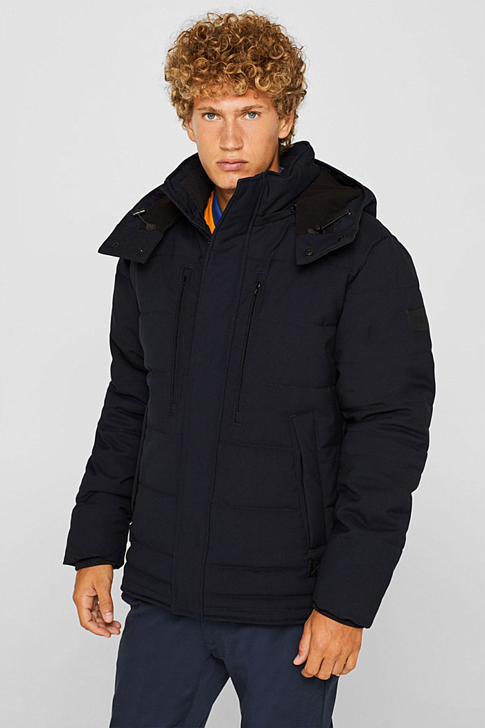 Padded quilted jacket with an adjustable hood, NAVY, detail image number 0