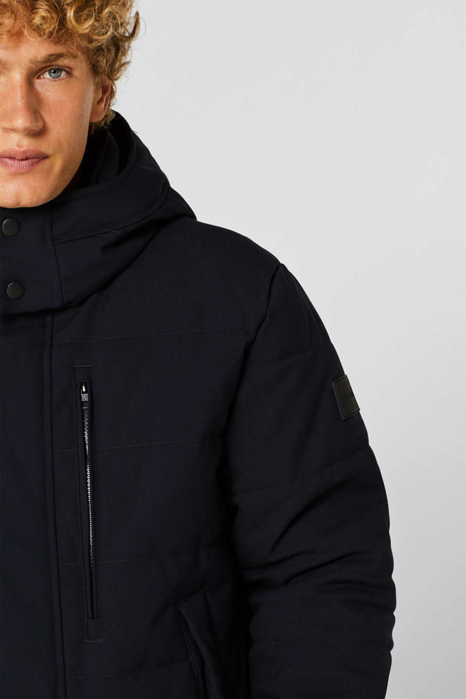 Padded quilted jacket with an adjustable hood, NAVY, detail image number 5