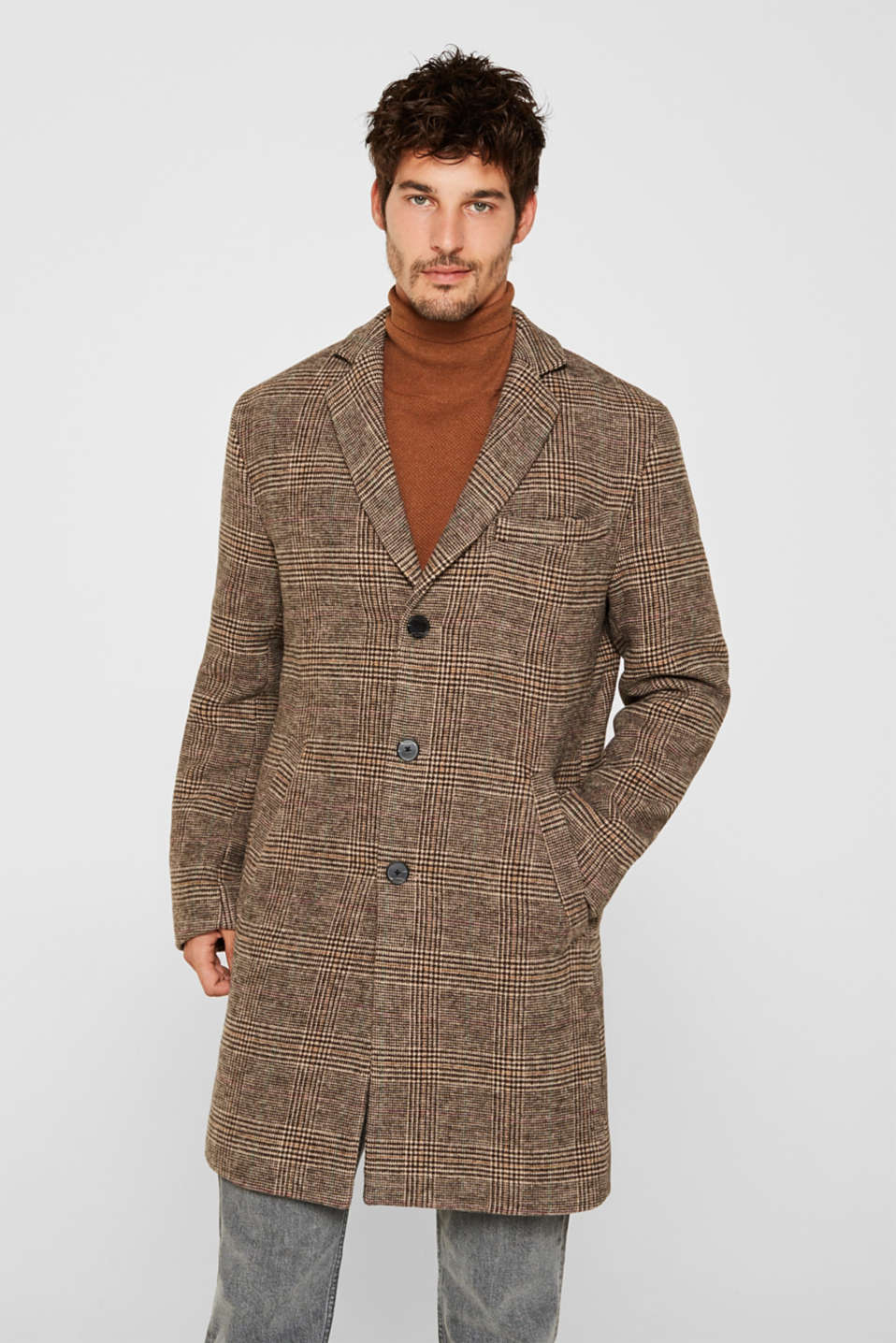 Esprit - Wool blend: coat with a Prince of Wales check design