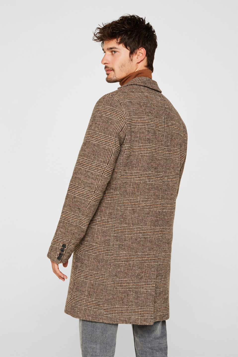 Wool blend: coat with a Prince of Wales check design, CAMEL, detail image number 3