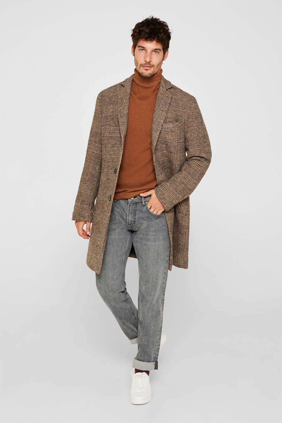 Wool blend: coat with a Prince of Wales check design, CAMEL, detail image number 1