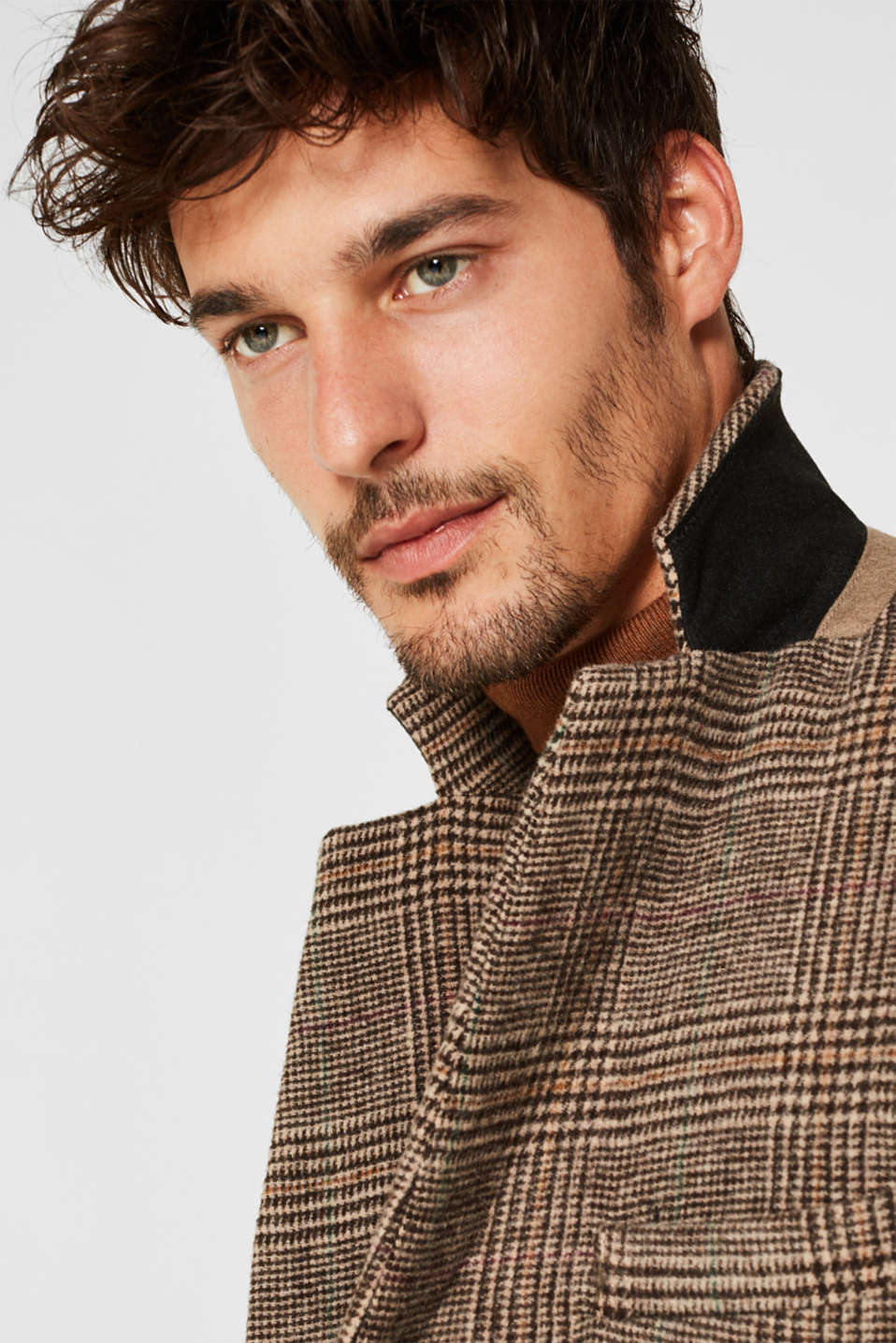 Wool blend: coat with a Prince of Wales check design, CAMEL, detail image number 2