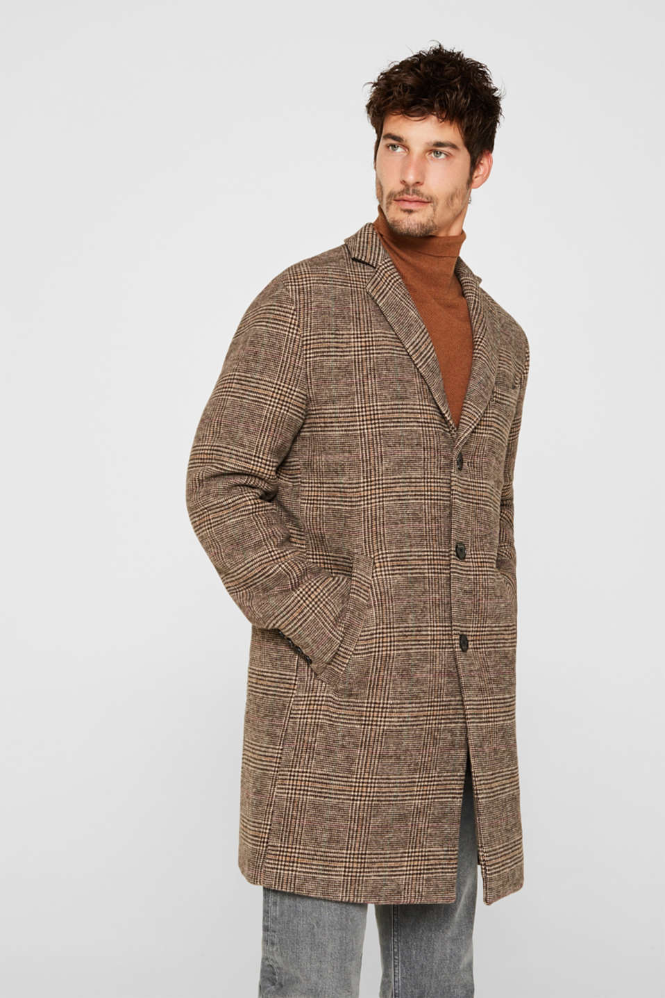 Wool blend: coat with a Prince of Wales check design, CAMEL, detail image number 6