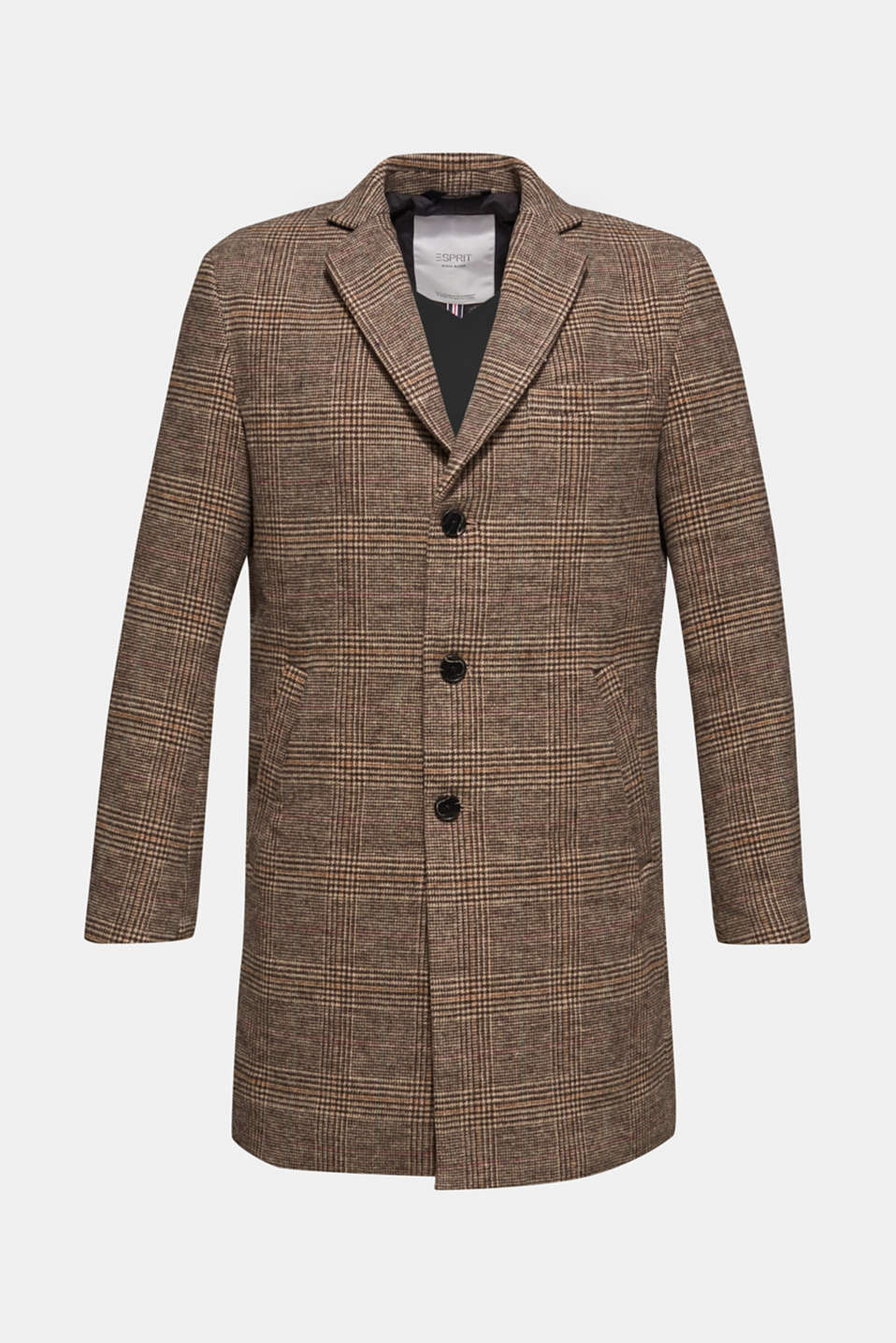 Wool blend: coat with a Prince of Wales check design, CAMEL, detail image number 8