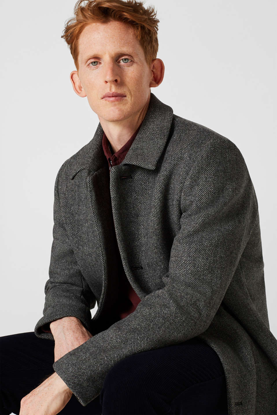 Wool blend: coat with a turn-down collar, GREY, detail image number 0