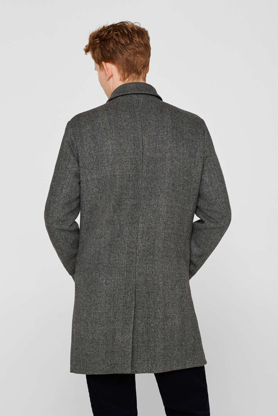 Wool blend: coat with a turn-down collar, GREY, detail image number 3
