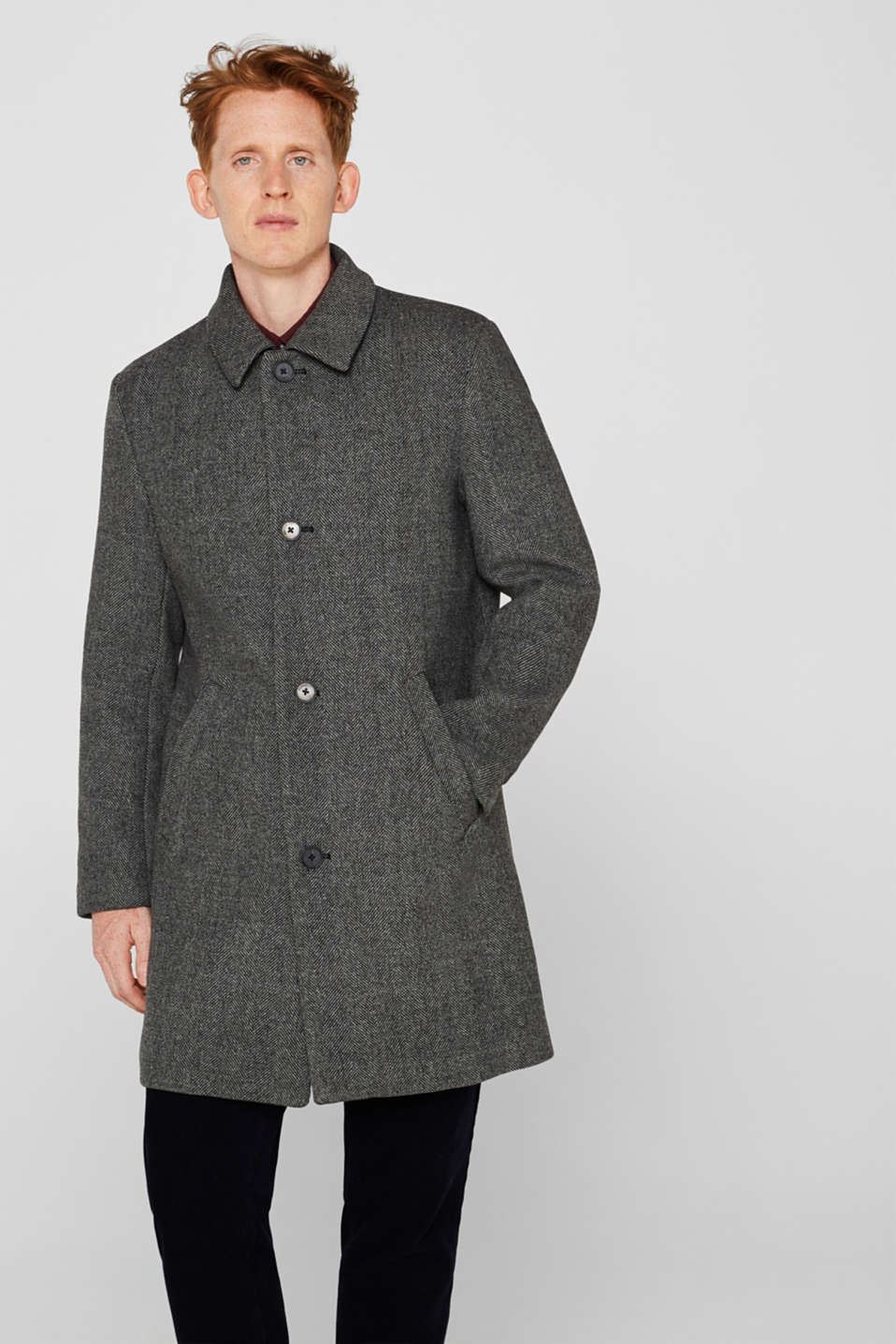 Wool blend: coat with a turn-down collar, GREY, detail image number 4