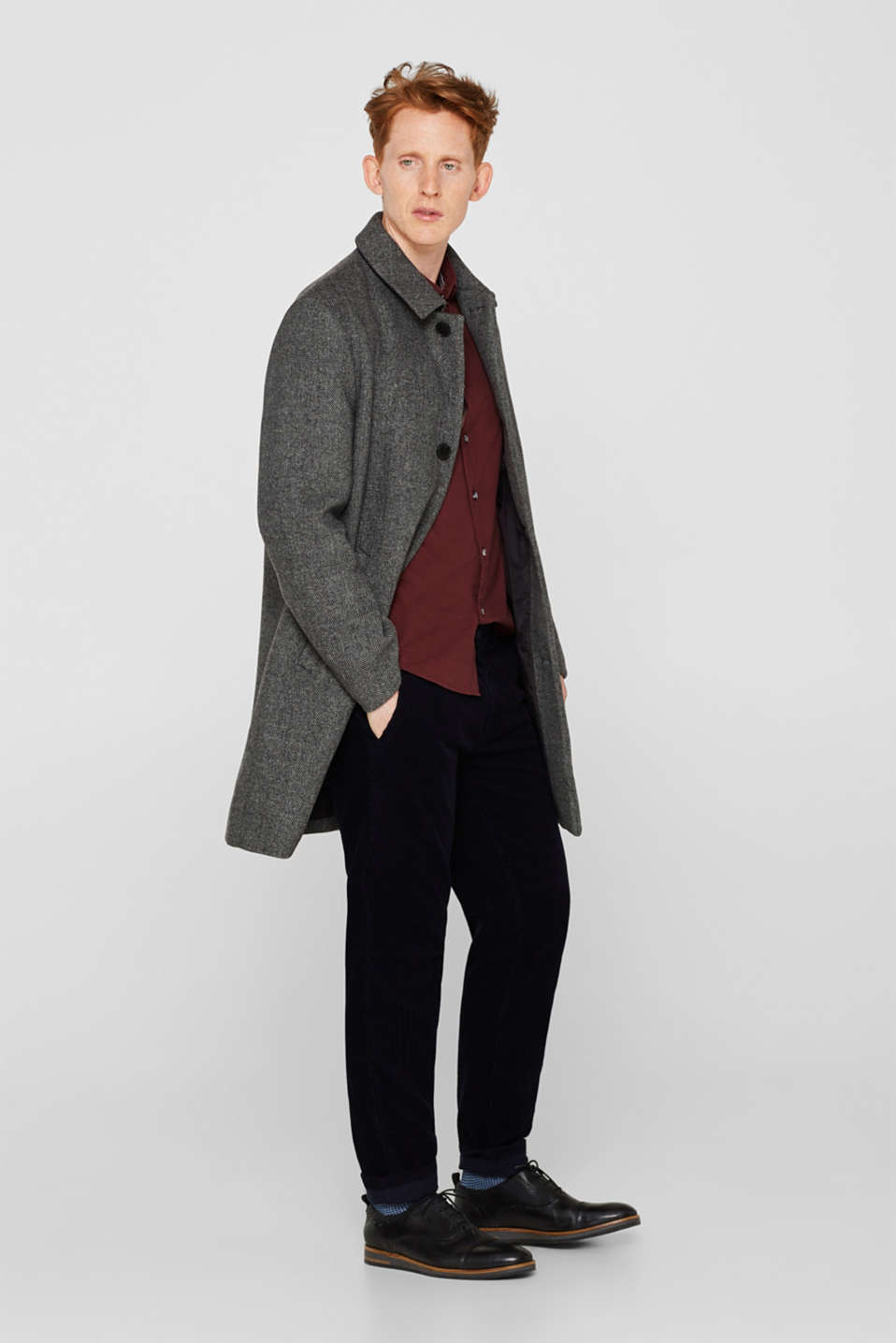 Wool blend: coat with a turn-down collar, GREY, detail image number 1