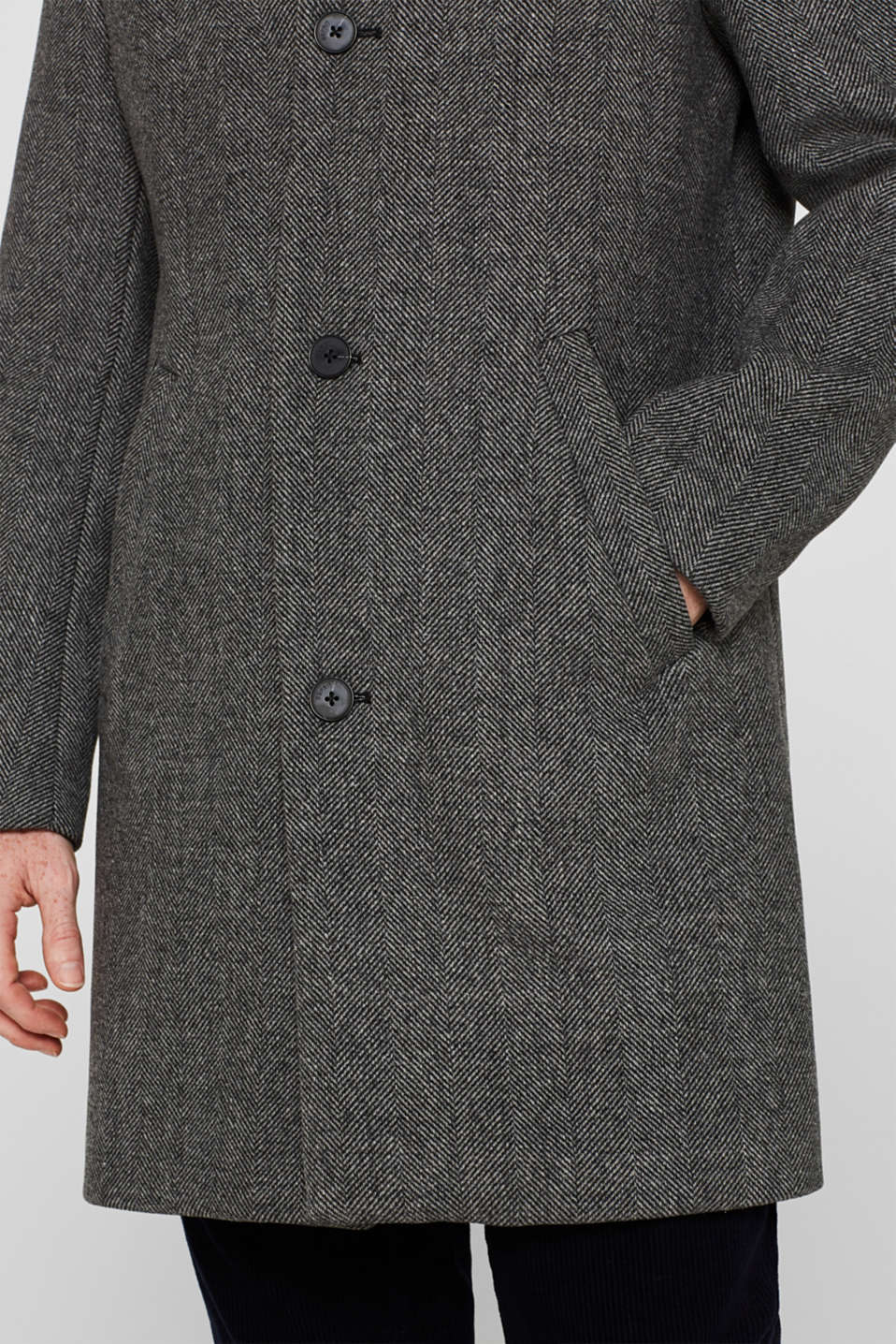 Wool blend: coat with a turn-down collar, GREY, detail image number 2
