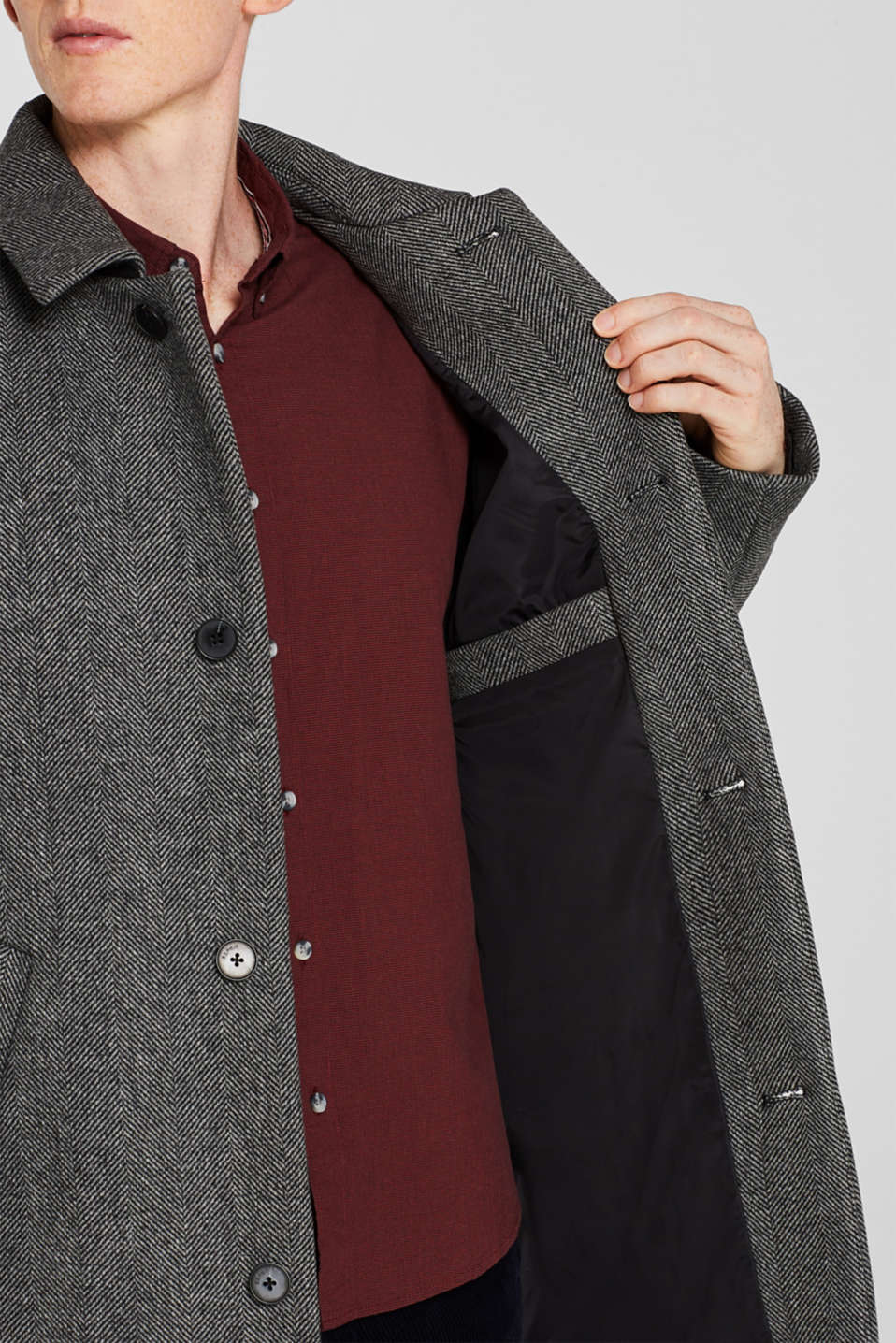 Wool blend: coat with a turn-down collar, GREY, detail image number 6