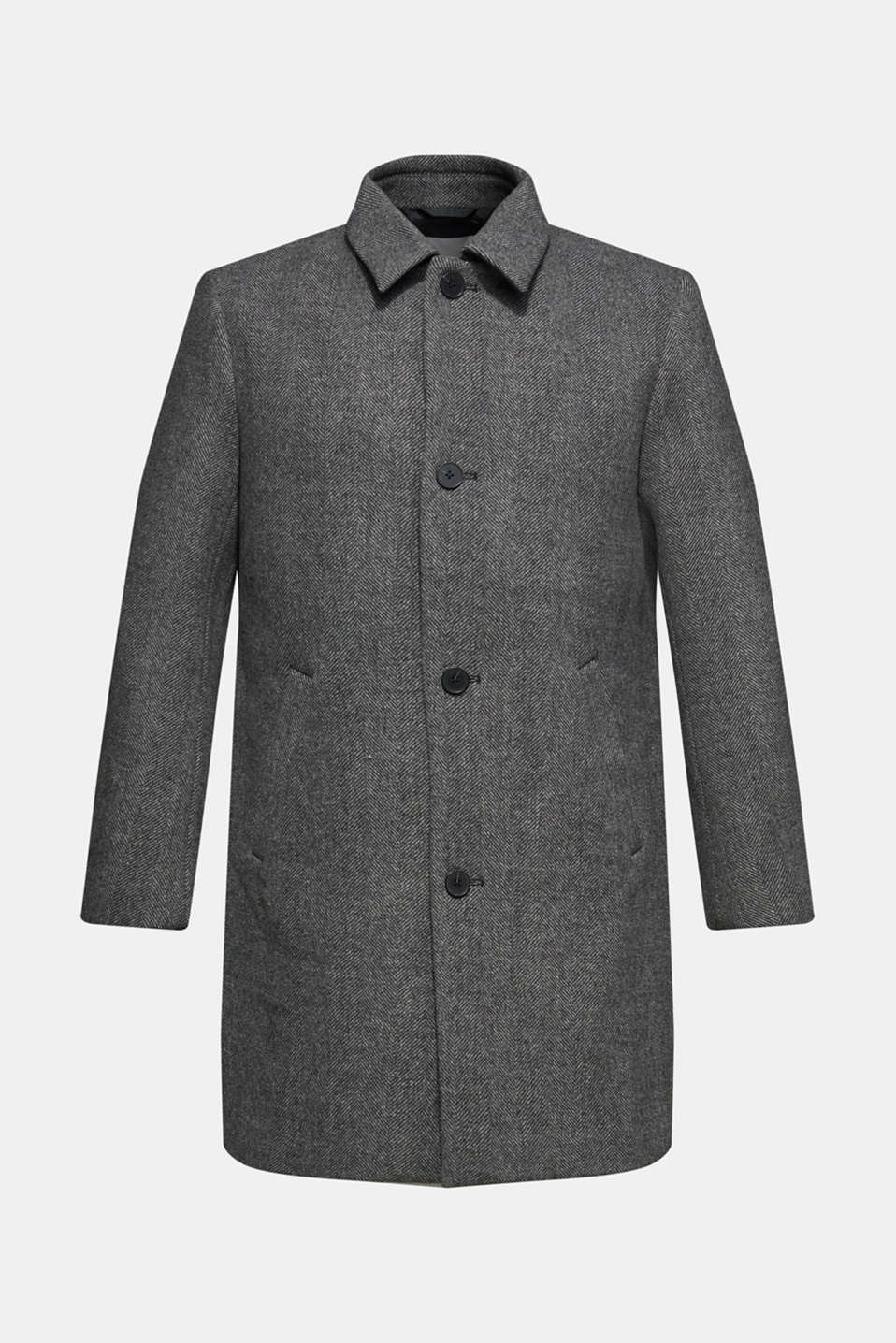 Wool blend: coat with a turn-down collar, GREY, detail image number 7