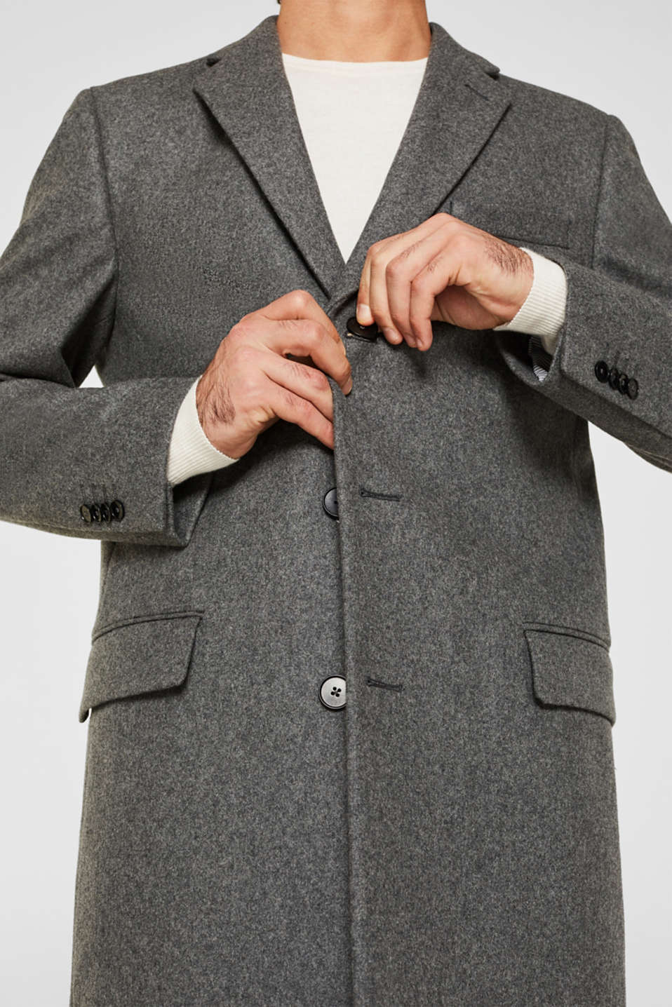 Wool blend: Coat made of Italian yarn, GREY, detail image number 2