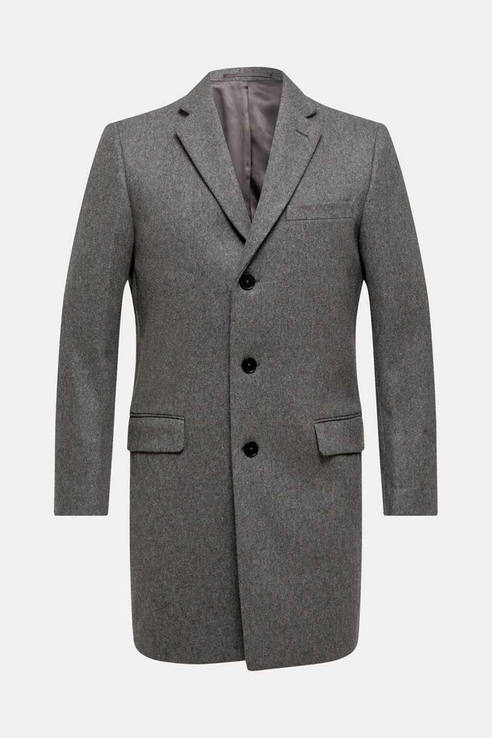 Wool blend: Coat made of Italian yarn, GREY, detail image number 7
