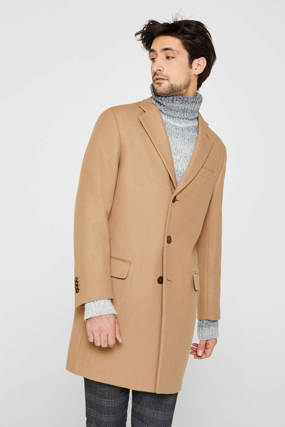 Wool blend: Coat made of Italian yarn, CAMEL, detail image number 0