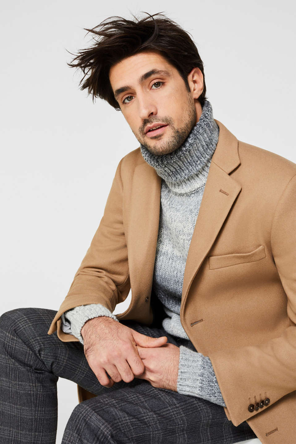 Wool blend: Coat made of Italian yarn, CAMEL, detail image number 6