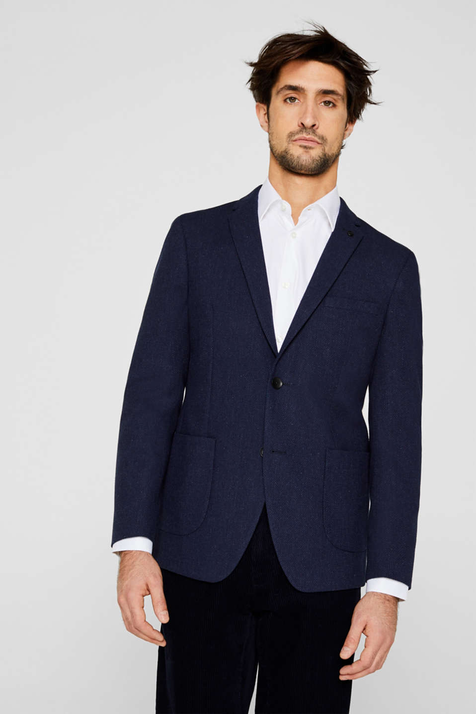 With wool: textured jacket, DARK BLUE, detail image number 0