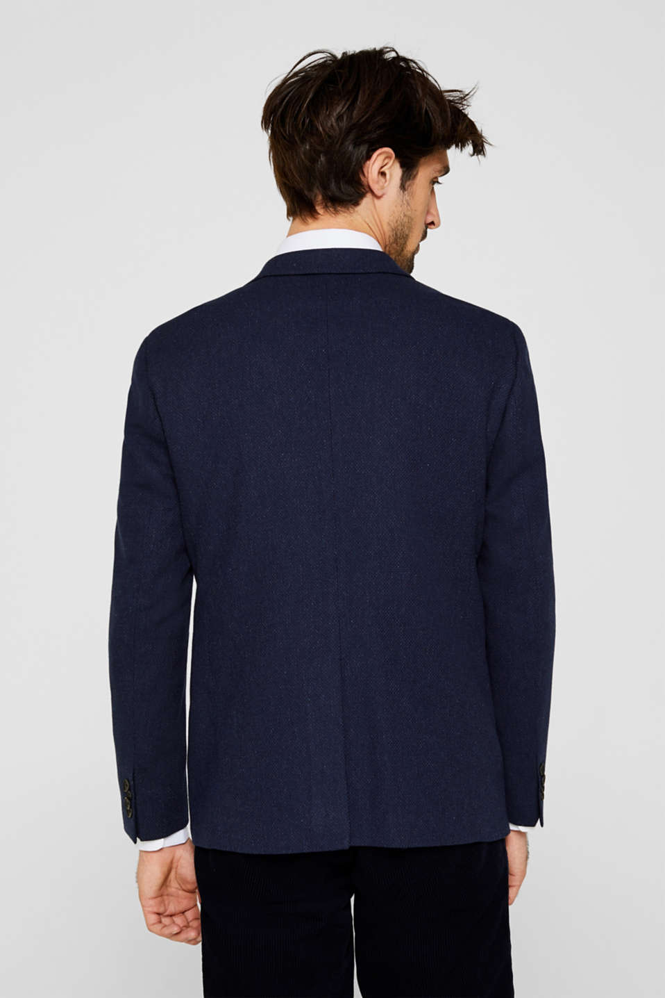 With wool: textured jacket, DARK BLUE, detail image number 3