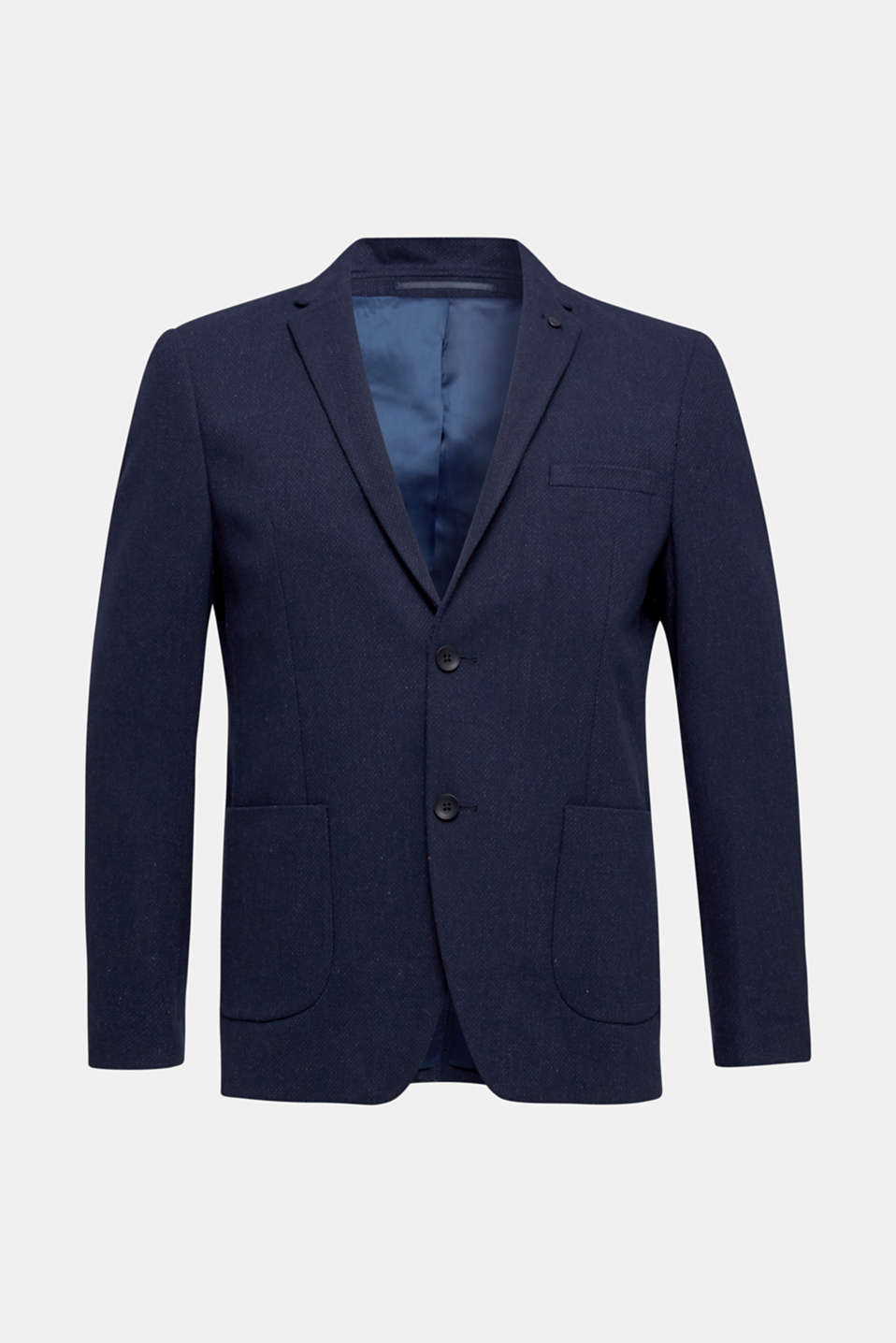 With wool: textured jacket, DARK BLUE, detail image number 7