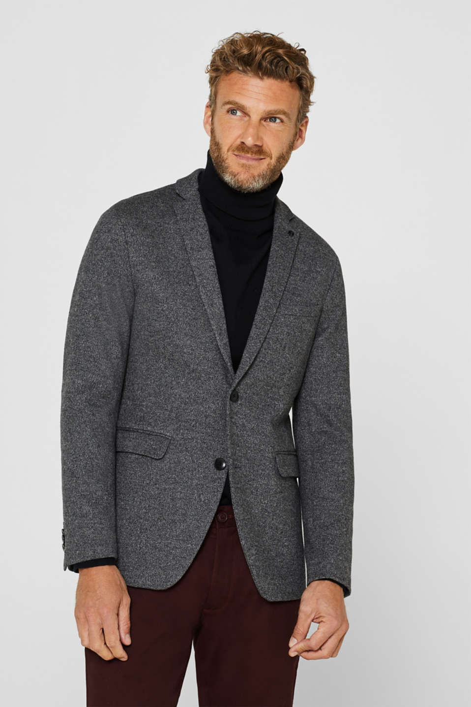 Melange blazer with wool