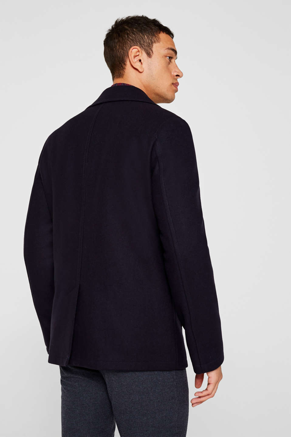Wool blend: Coat made of Italian yarn, NAVY, detail image number 3
