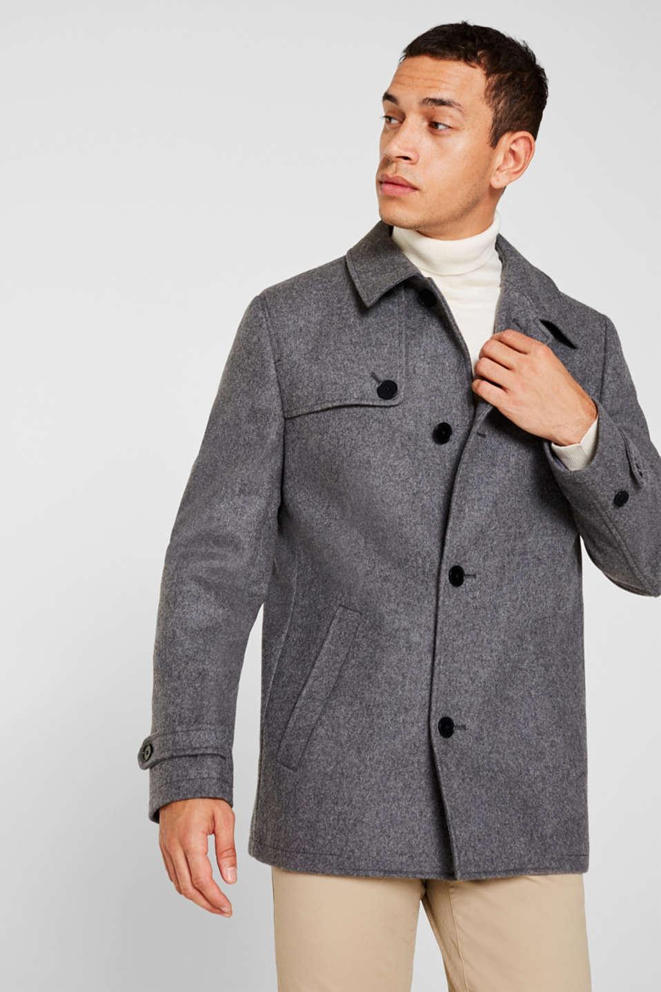 Wool blend: Coat made of Italian yarn, GREY, detail image number 0