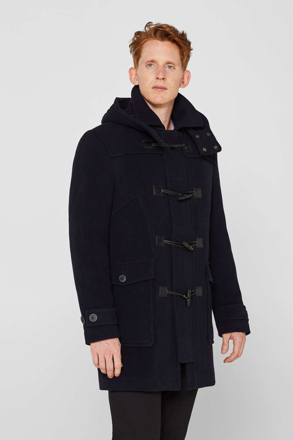 Esprit - Wool blend: duffle coat with a variable hood