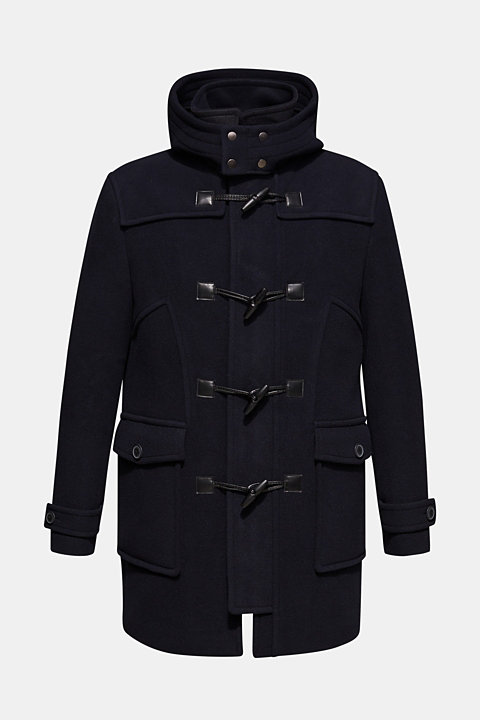 Wool blend: duffle coat with a variable hood
