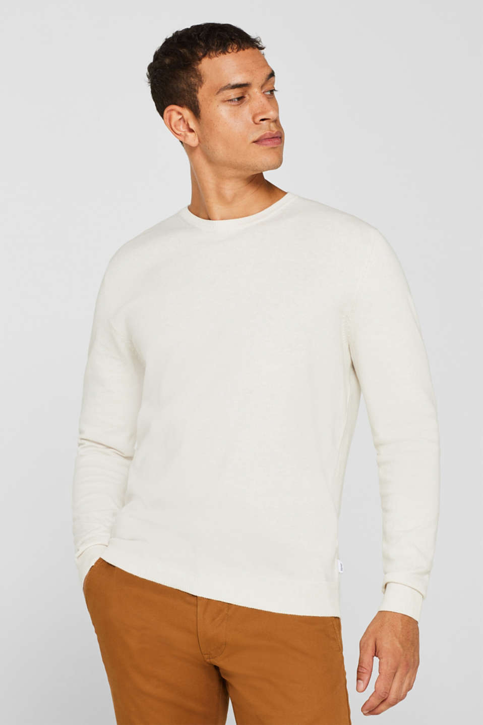 With cashmere: Basic style jumper, OFF WHITE, detail image number 0