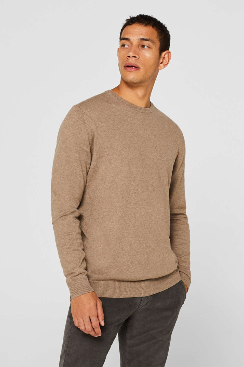 With cashmere: Basic style jumper, TAUPE, detail image number 0