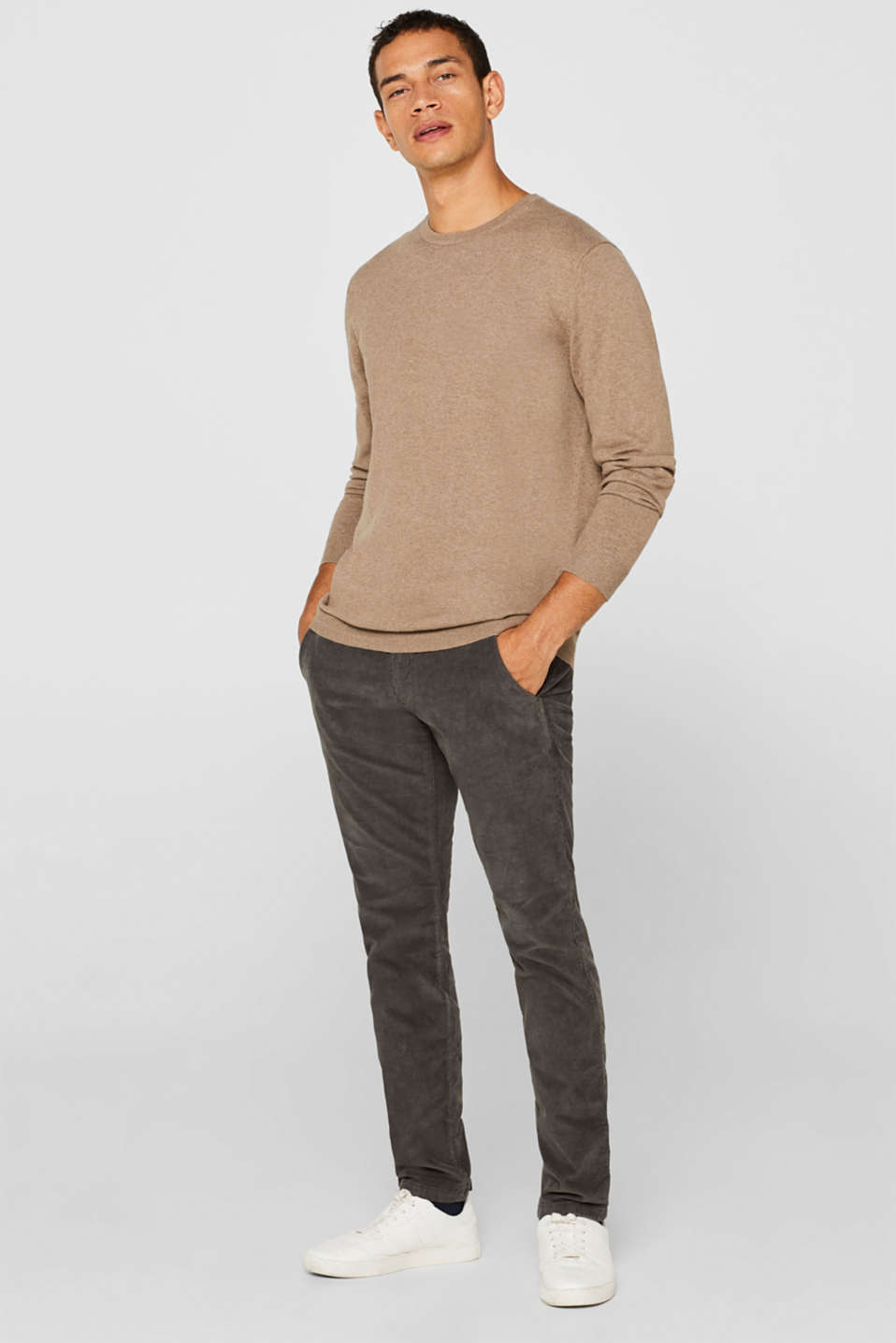 With cashmere: Basic style jumper, TAUPE, detail image number 1