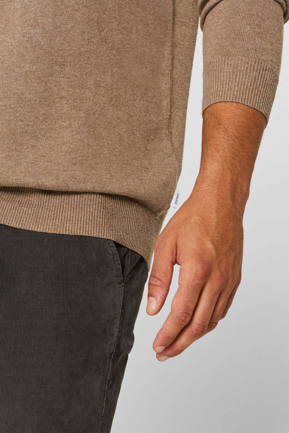 With cashmere: Basic style jumper, TAUPE, detail image number 2