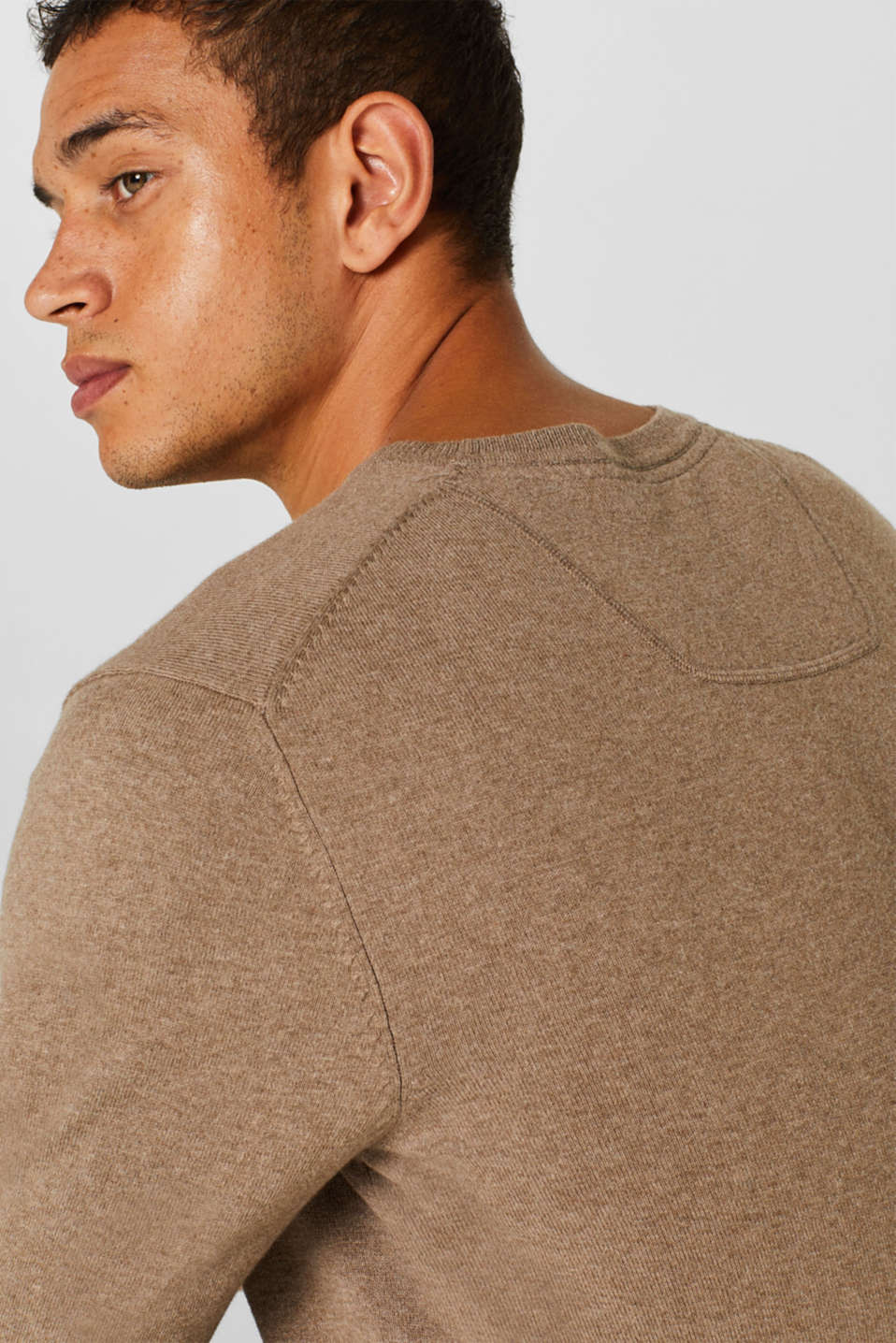 With cashmere: Basic style jumper, TAUPE, detail image number 6