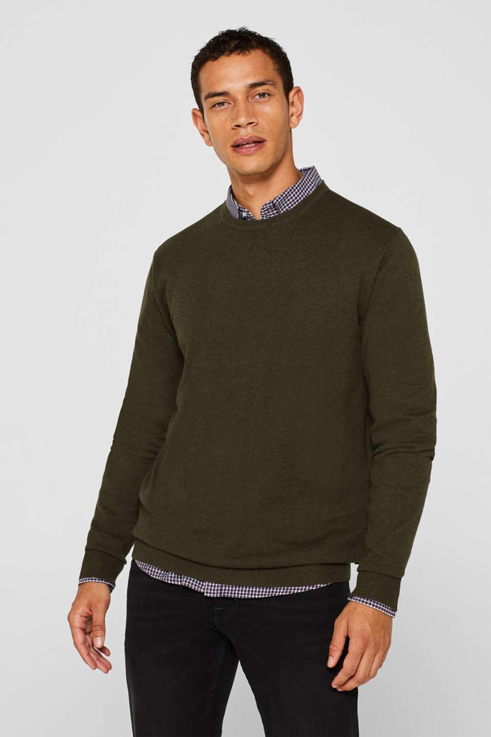 With cashmere: Basic style jumper, DARK KHAKI, detail image number 0
