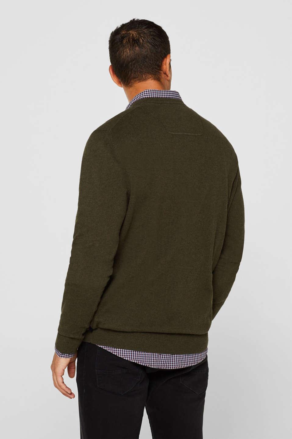 With cashmere: Basic style jumper, DARK KHAKI, detail image number 3