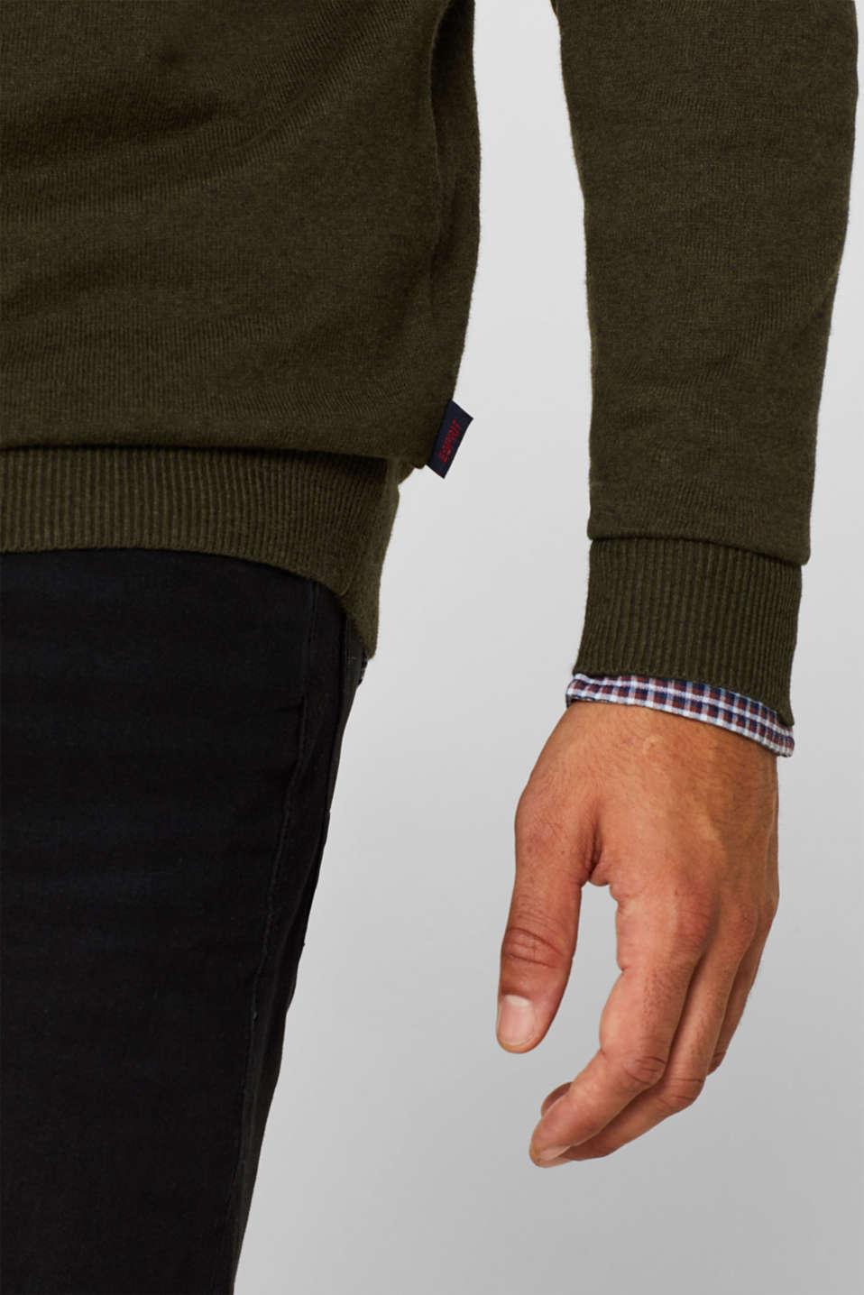 With cashmere: Basic style jumper, DARK KHAKI, detail image number 2