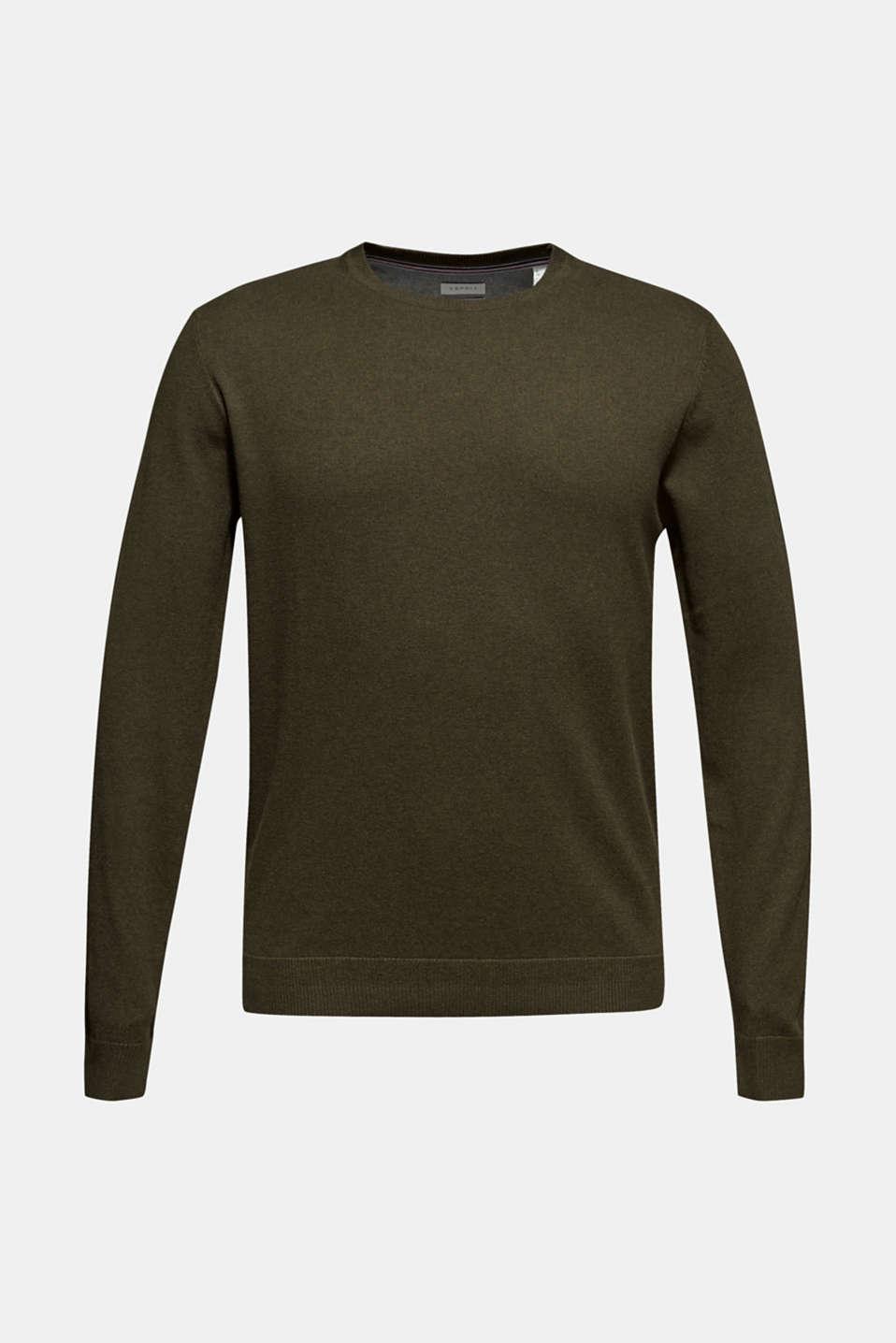 With cashmere: Basic style jumper, DARK KHAKI, detail image number 5