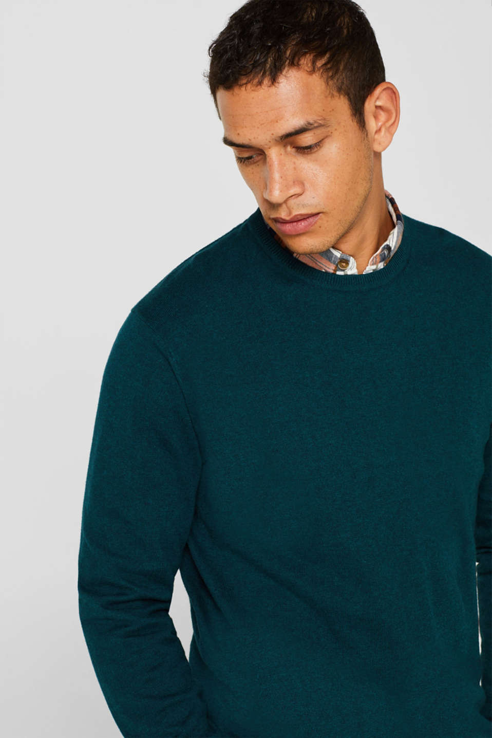 With cashmere: Basic style jumper, TEAL GREEN, detail image number 5