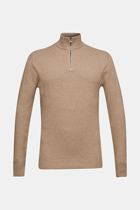With cashmere: Textured knit jumper