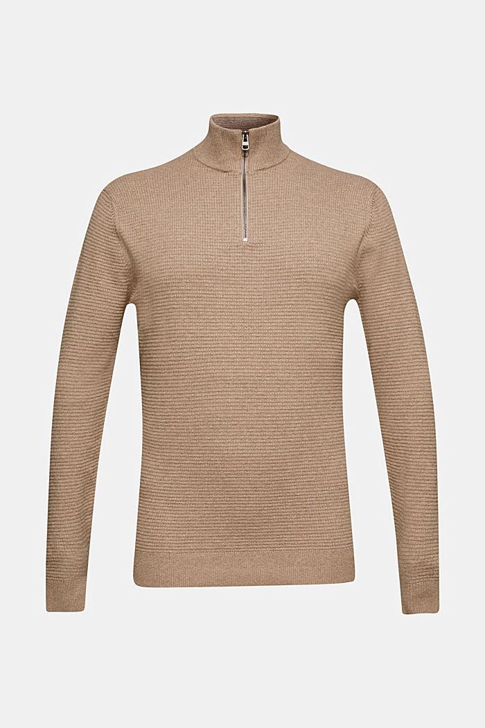Cashmere blend: textured knit jumper