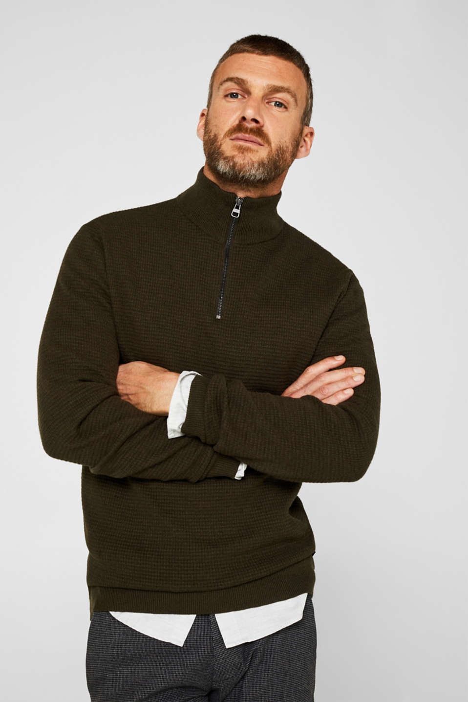 Esprit - With cashmere: Textured knit jumper