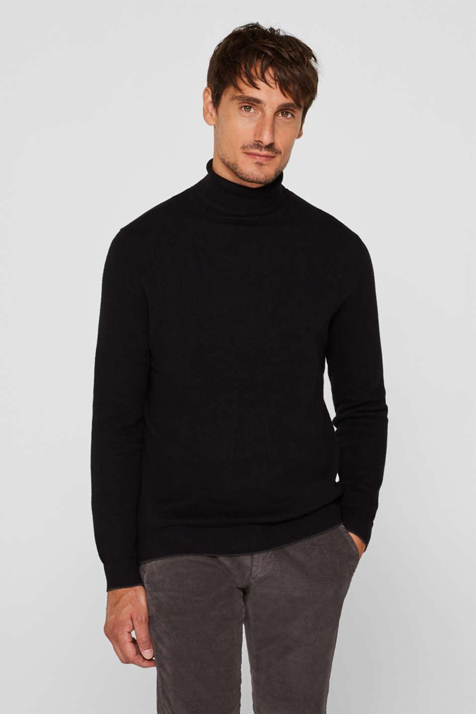 Polo neck jumper, 100% cotton, BLACK, detail image number 0