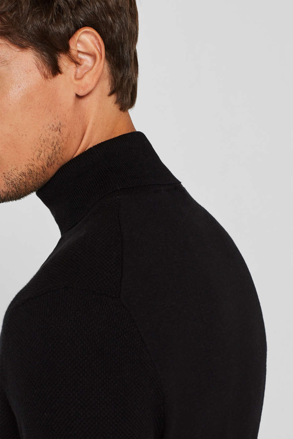Polo neck jumper, 100% cotton, BLACK, detail image number 2