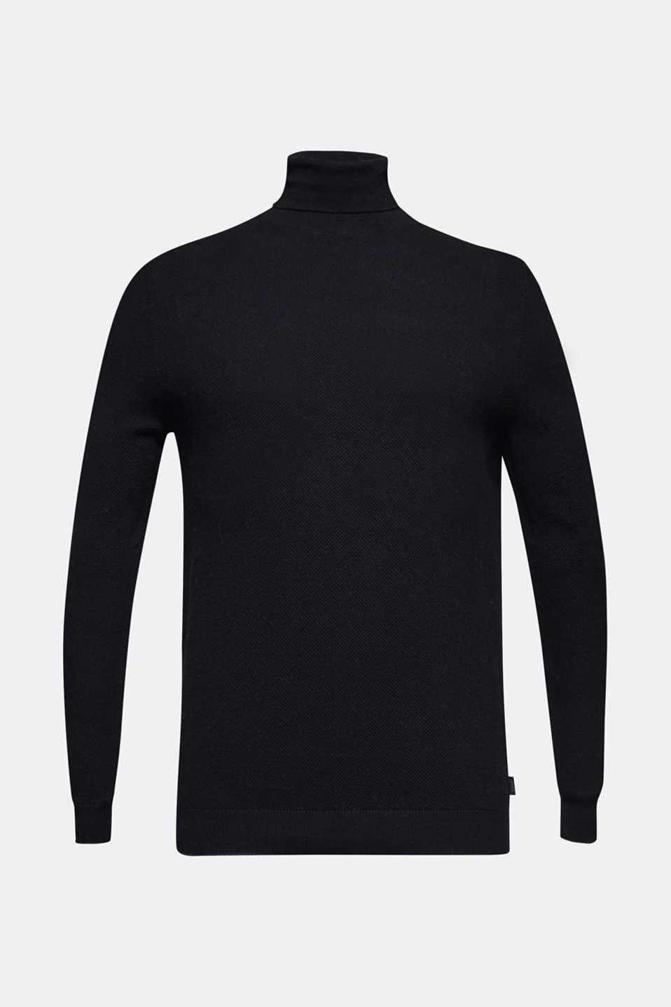 Polo neck jumper, 100% cotton, BLACK, detail image number 7