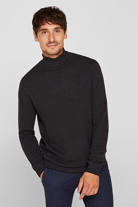 Polo neck jumper, 100% cotton